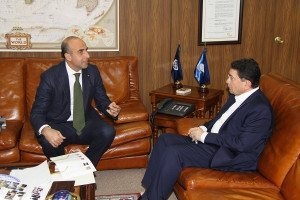 Il Direttore Ugo Picarelli con il Segretario Unwto Taleb Rifai nella sede di Madrid