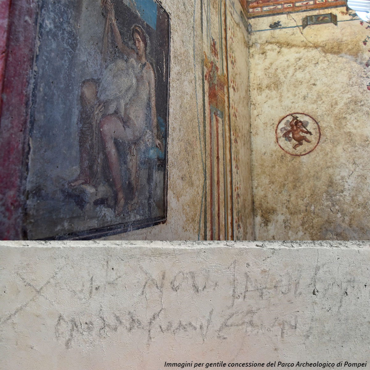 Italy: the inscripition and villas discovered in Pompeii