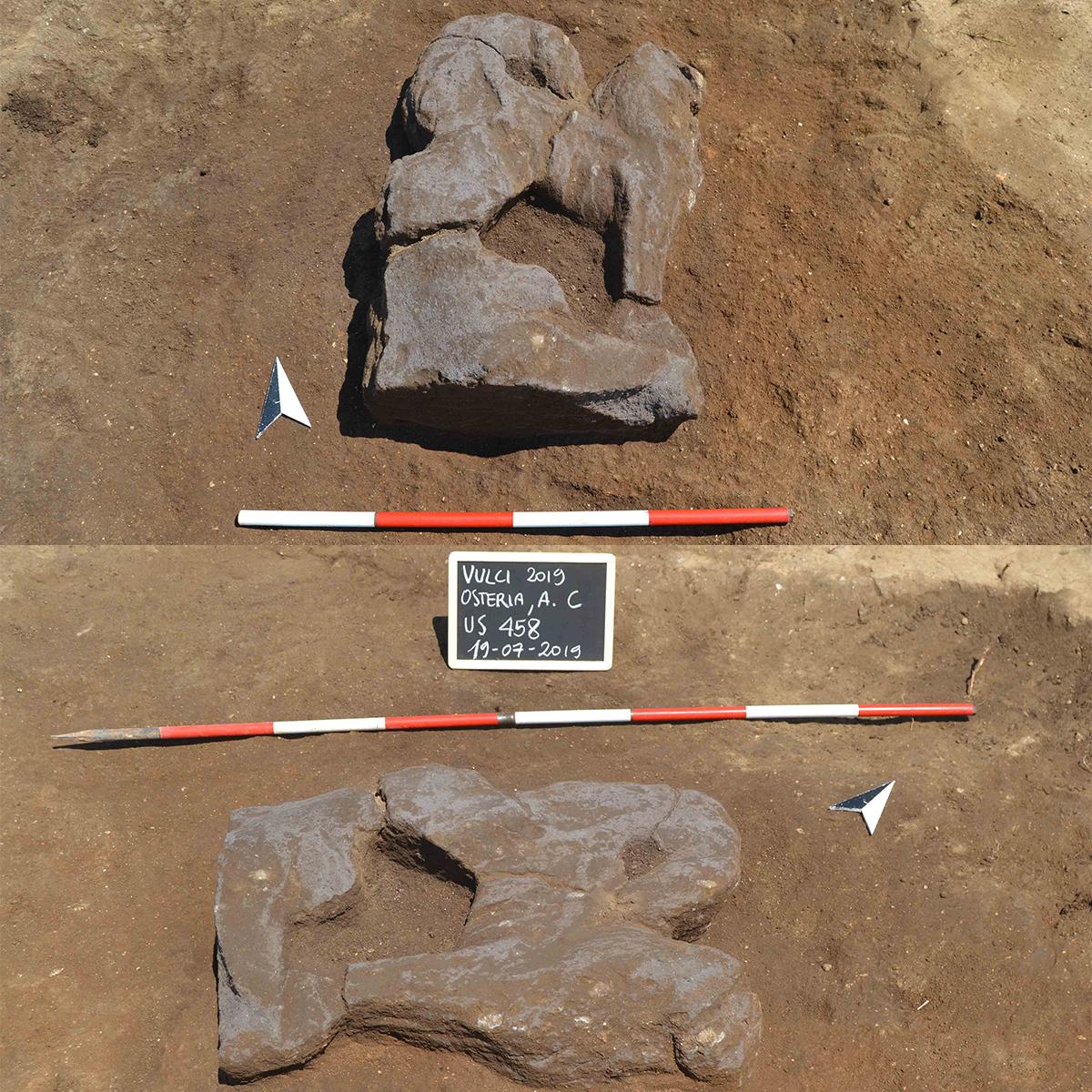 Vulci, dalla terra affiora statua di leone alato del VI secolo a.C.